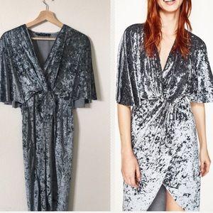 { { Zara } crossover velvet asymmetrical dress